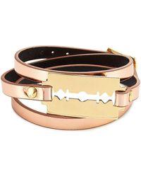 McQ - Leather Bracelet With Razor Blade Motif - Lyst
