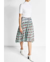 Jil Sander Navy - Floral Print Midi Skirt - Lyst