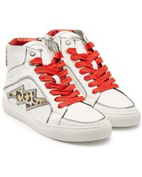 Zadig & Voltaire - Verzierte High Top Sneakers aus Leder - Lyst