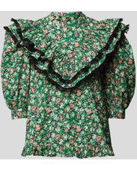 Custommade• Bluse mit Volants - Grün