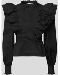 Custommade• Bluse mit Puffärmeln - Schwarz