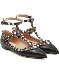 Valentino | Rockstud Textured Leather Ballerinas | Lyst