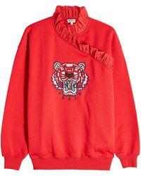 cb5504f0 KENZO - Tiger Ruffle Cotton Sweatshirt - Lyst