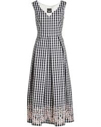 Boutique Moschino - Embroidered Gingham Dress - Lyst