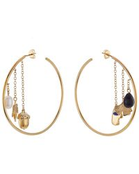 Aurelie Bidermann - 18kt Yellow Gold Plated Earrings With Pearl, Agate And Lapis - Lyst
