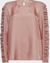 Tibi Bluse mit gerafften Ärmeln - Pink