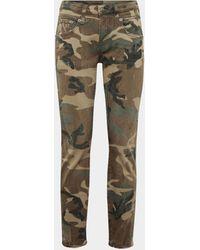 R13 Skinny Jeans in Camouflage-Optik - Grün