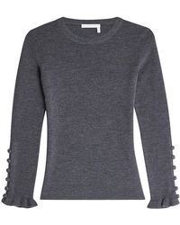 See By Chloé - Wool Pullover With Buttoned Cuffs - Lyst
