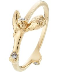 Sophie Bille Brahe - 18kt Yellow Gold Ring With White Diamonds - Lyst