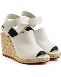 Alexander Wang - Leather Sandals With Raffia Wedges - Lyst