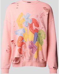 R13 Sweatshirt im Destroyed-Look - Pink