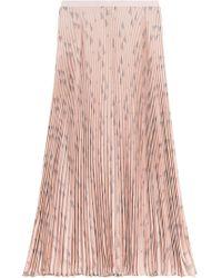 Valentino - Printed Silk Pleated Skirt - Lyst