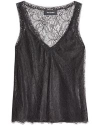 The Kooples - Top With Lace Overlay - Lyst