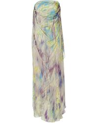 Matthew Williamson - Mauve And Peridot Printed Silk Gown - Lyst