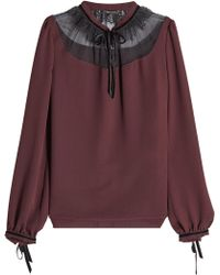 Tara Jarmon - Blouse With Tulle Lace - Lyst