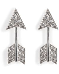Anita Ko - 18kt White Gold Arrow Earrings With Diamonds - Lyst