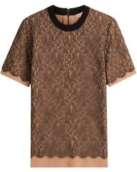 Michael Kors - Cashmere Top With Lace - Lyst