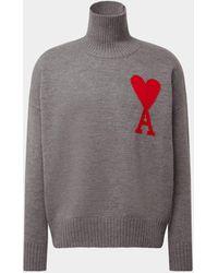AMI Pullover mit Rollkragen - Grau