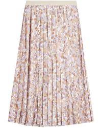 Agnona - Pleated Midi Skirt With Silk - Lyst