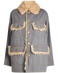 Marc Jacobs   Oversized Cotton Jacket With Faux Fur Lining   Lyst