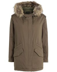 The Kooples - Cotton Parka With Fur-trimmed Hood - Lyst