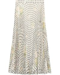 Christopher Kane - Gingham Organza Pleated Silk Skirt - Lyst