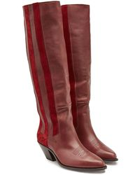 Golden Goose Deluxe Brand - Nebbia Leather And Suede Knee Boots - Lyst