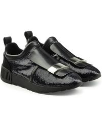 Sergio Rossi - Slip-on Sneakers With Leather And Sequins - Lyst