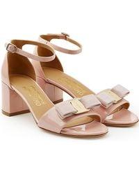 Ferragamo - Vara Patent Leather Sandals - Lyst