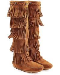 Minnetonka - Calf Hi 3-layer Fringe Boots - Lyst