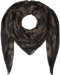 The Kooples - Printed Scarf With Silk - Green - Lyst