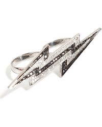 Lynn Ban - Sterling Silver Lightening Bolt Ring With Diamonds - Lyst