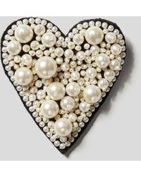 Custommade• Brosche mit Perlenbesatz - Schwarz