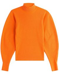 Mugler - Wool Pullover With Voluminous Sleeves - Lyst