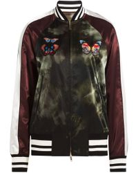 Valentino - Satin Bomber Jacket With Butterfly Patches - Lyst
