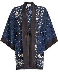 RED Valentino Paisley Print Silk Kimono - Blue