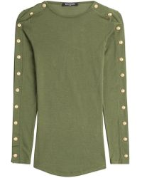 Balmain - Wool Pullover With Embossed Buttons - Lyst