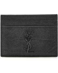 Saint Laurent - Embossed Leather Card Holder - Lyst