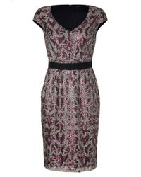 Collette Dinnigan - Rose/silver Cap Sleeve Sequined Highland Dress - Lyst