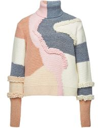 Peter Pilotto - Heavy Knit Turtleneck Pullover With Cotton And Wool - Lyst
