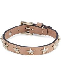 RED Valentino | Star Studded Leather Bracelet - Brown | Lyst