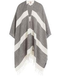 Figue Raj Stripe Wool Shawl Scarf - Gray
