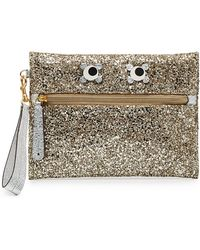 Silver glitter Eyes embellished pouch - Metallic Anya Hindmarch NedJtPPlsW