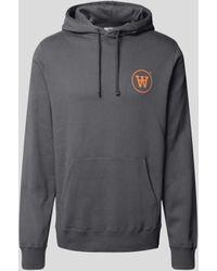 WOOD WOOD Hoodie mit Logo-Print - Grau
