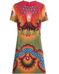 Valentino - Volcano wool and Silk-Blend Dress  - Lyst