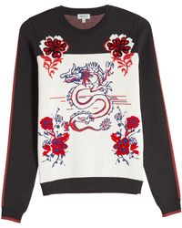 KENZO - Printed Knit Pullover With Wool And Cotton - Lyst