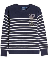 Polo Ralph Lauren - Striped Wool Pullover With Embellishment - Lyst