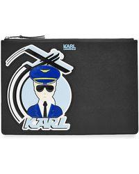 Karl Lagerfeld | Fly With Karl Zipped Clutch | Lyst