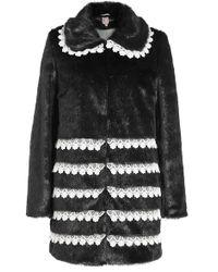 Shrimps - Faux Fur Coat With Crochet Trims - Lyst