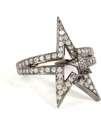 Nikos Koulis - 18k Black Rhodium Fontana Ring With White Diamonds - Lyst